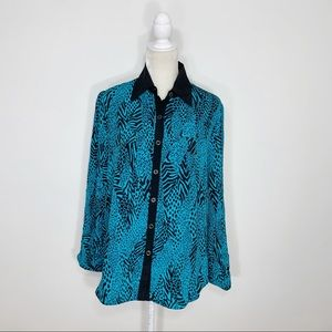 YUMI KIM blue animal print silk button up blouse